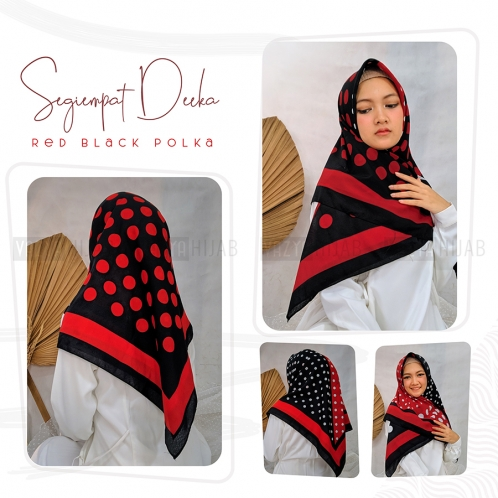 Segiempat Deeka Red Black Polka 2