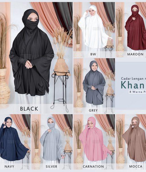 Khimar Syari Cadar Lengan Khania 4in1