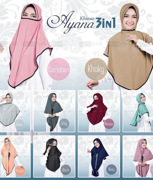 Hijab Khimar Cadar Ayana 3in1