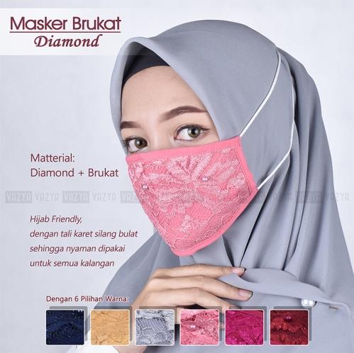 Masker Brukat Mutiara Diamond 2 Ply Headloop