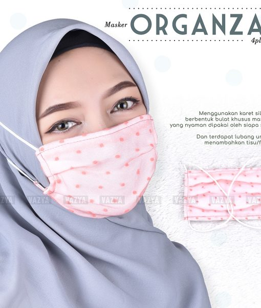 Masker Kain Hijab 4 Ply Organza Dot