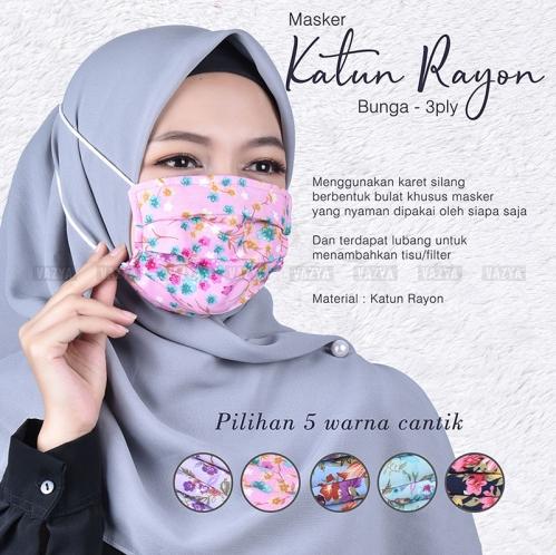 Masker Katun Rayon Bunga 3 Ply