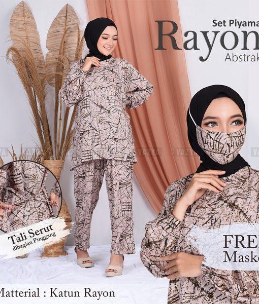 Set Piyama Rayon Abstrak Free Masker