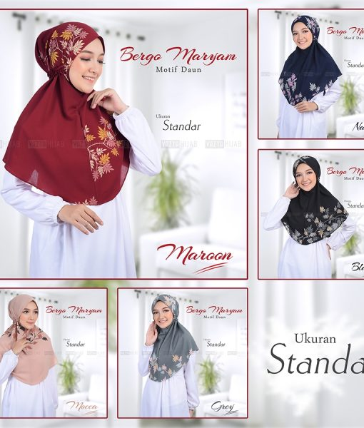 Bergo Maryam Motif Daun 1
