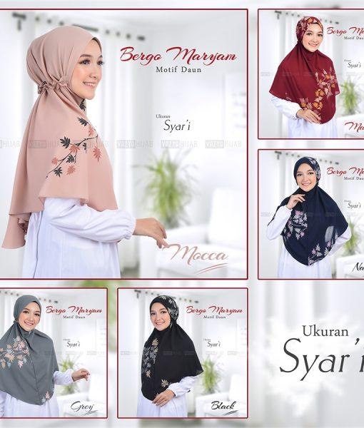 Bergo Maryam Motif Daun Syari