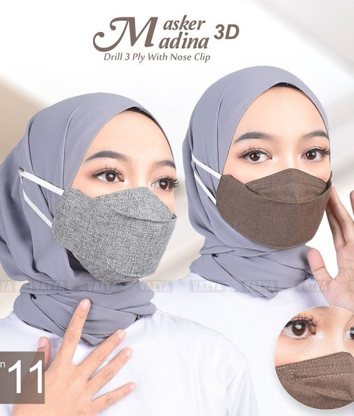 Masker 3D Drill Madinah 3ply with Nose Clip